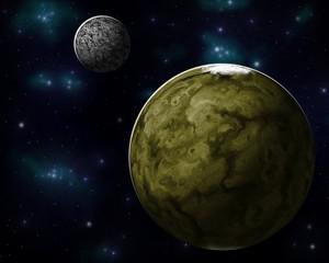 Planet mit seinem Mond