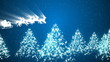 Animation of Santa Claus flying over the tress and snow
