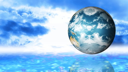 Animation of a globe spinning agaisnt sky background