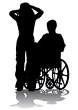 Disabled person on a walk poster