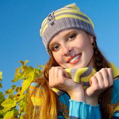 Autumn portrait of redheaded  girl