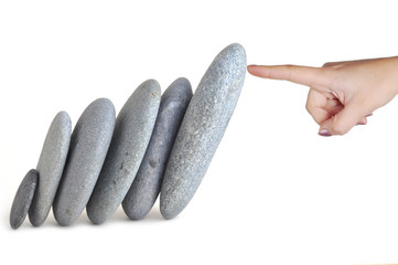 woman finger hold stones