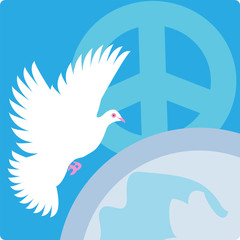 peace logo, symbols set, globe background with bird & pacific