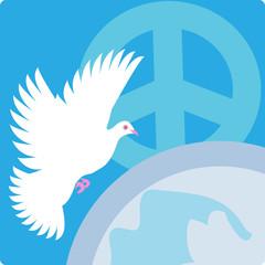 peace logo, symbols set, globe background with bird & pacific