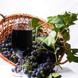 Grapes on The Vine in a Basket