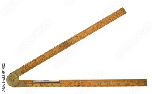 Leinwandbild Motiv Antique carpenter's boxwood folding rule of 19th century