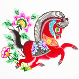 horse, color paper cutting. Chinese Zodiac.