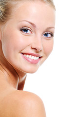 Beautiful face of smiling blonde woman