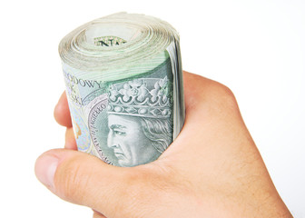 Hand and roll of polish Zloty on white background
