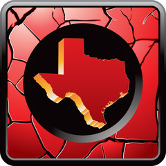 Texas icon on red cracked web icon
