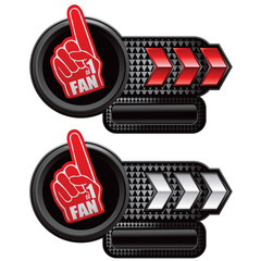 Number one fan foam hand on arrow banners