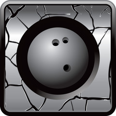 Bowling ball on silver cracked web icon