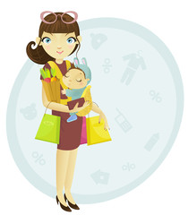 Shopping mum and baby