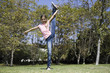 Tween Girl Doing Gymnastics