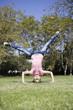 Tween Girl Doing Headstand