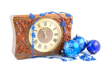 Christmas still life with a clock