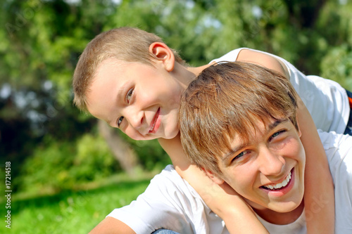 happy teenager and kid from Sabphoto, Royalty-free stock photo ...