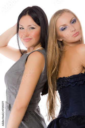 couple of pretty young adult babe isolated