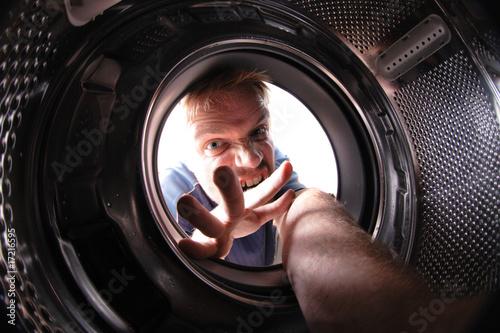 man in wash machine