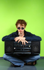 young red-haired man with stereotape