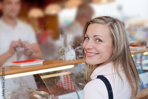 female buying sweets at the octoberfest