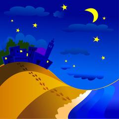 Panorama notturno, paese e mare