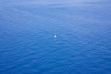 Single boat sailing in a vast ocean poster