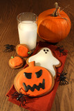 Halloween cookies with milk