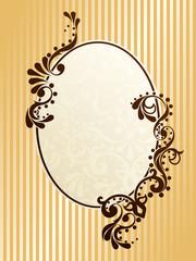 Oval vintage sepia frame