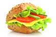 Leinwanddruck Bild - Ein leckeres frisches Käsebrötchen