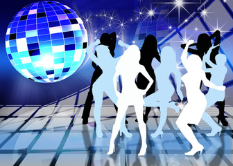festive dance background with brilliant ball and dancing girl