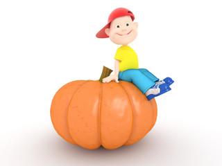boy and pumpkin