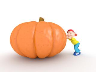 Boy push pumpkin