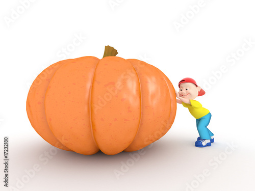 Boy push pumpkin