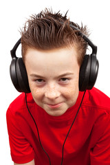 boy with freckle and headphones