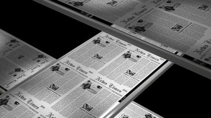 Newspaper press printing, seamless loop, 6 sec. with alpha matte