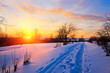 Beautiful sunset in countryside at winter, Russia