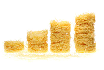 pile of macaroni nest on a white background