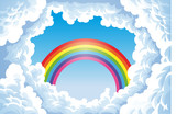 Fototapety Rainbow in the sky with clouds.