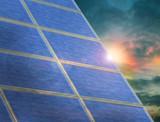 Solar panel array at twilight poster