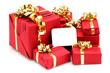 Cadeaux de Noël avec carte de voeux