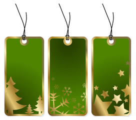 Green Christmas tags