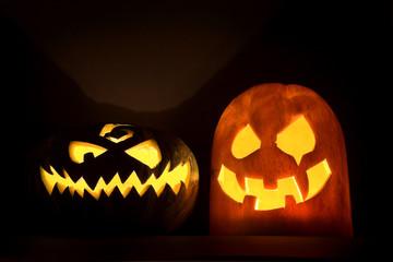 Two Jack-o'-lanterns