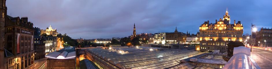 Edinburgh city panorama in twilight from North Bridge