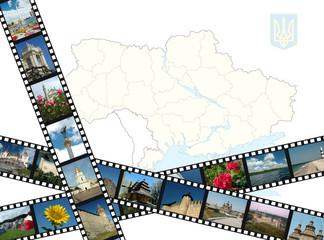 Background with ukrainian travel shots ,map and emblem