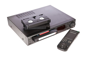 Old Video Cassette Recorder and tapes