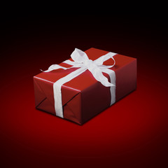 Red gift box on red fond-276