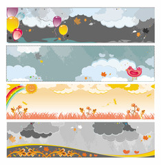 Autumn rainy banners with balloons and birds.