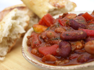 Bowl of chili and bread