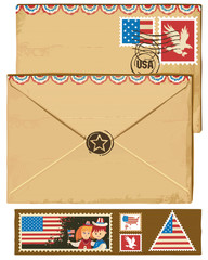USA envelope and stamps.